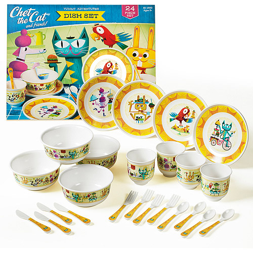 Educational Insights EI-1880 Chet The Cat And Friends Dish Set