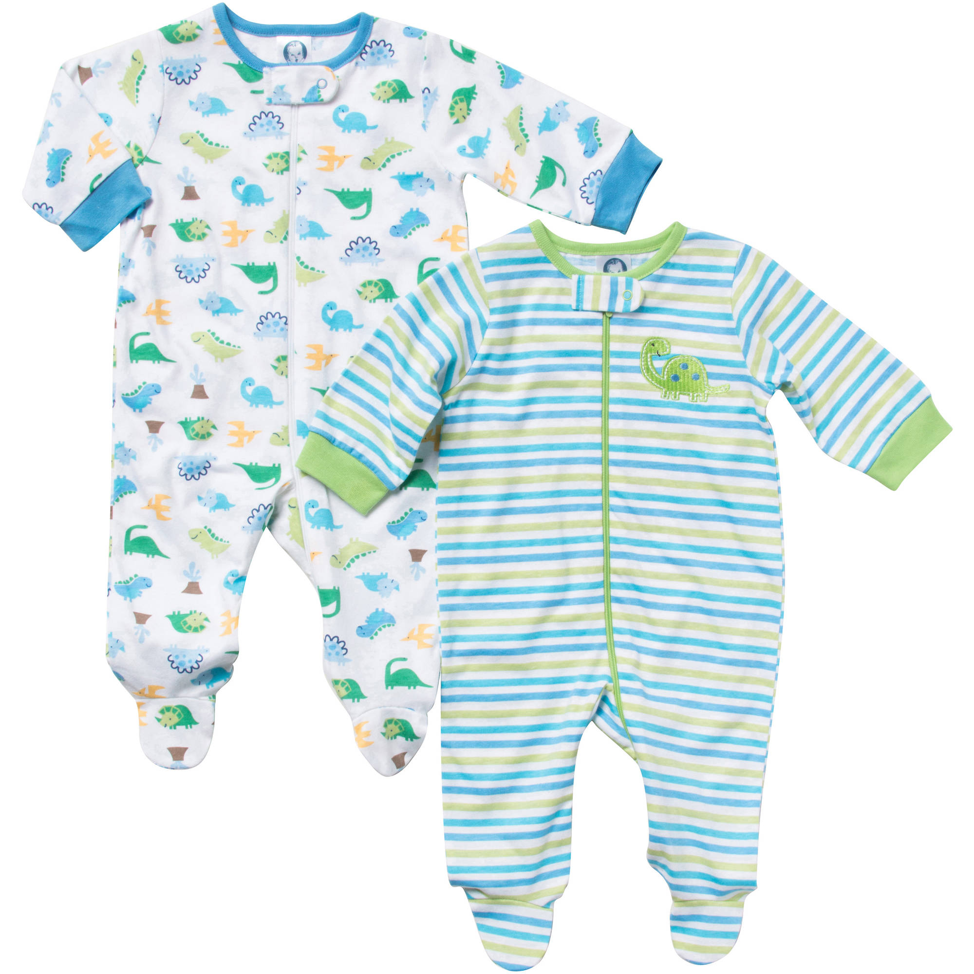 Gerber Newborn Baby Boy Zip Front Stripes Sleep N Play, 2-Pack