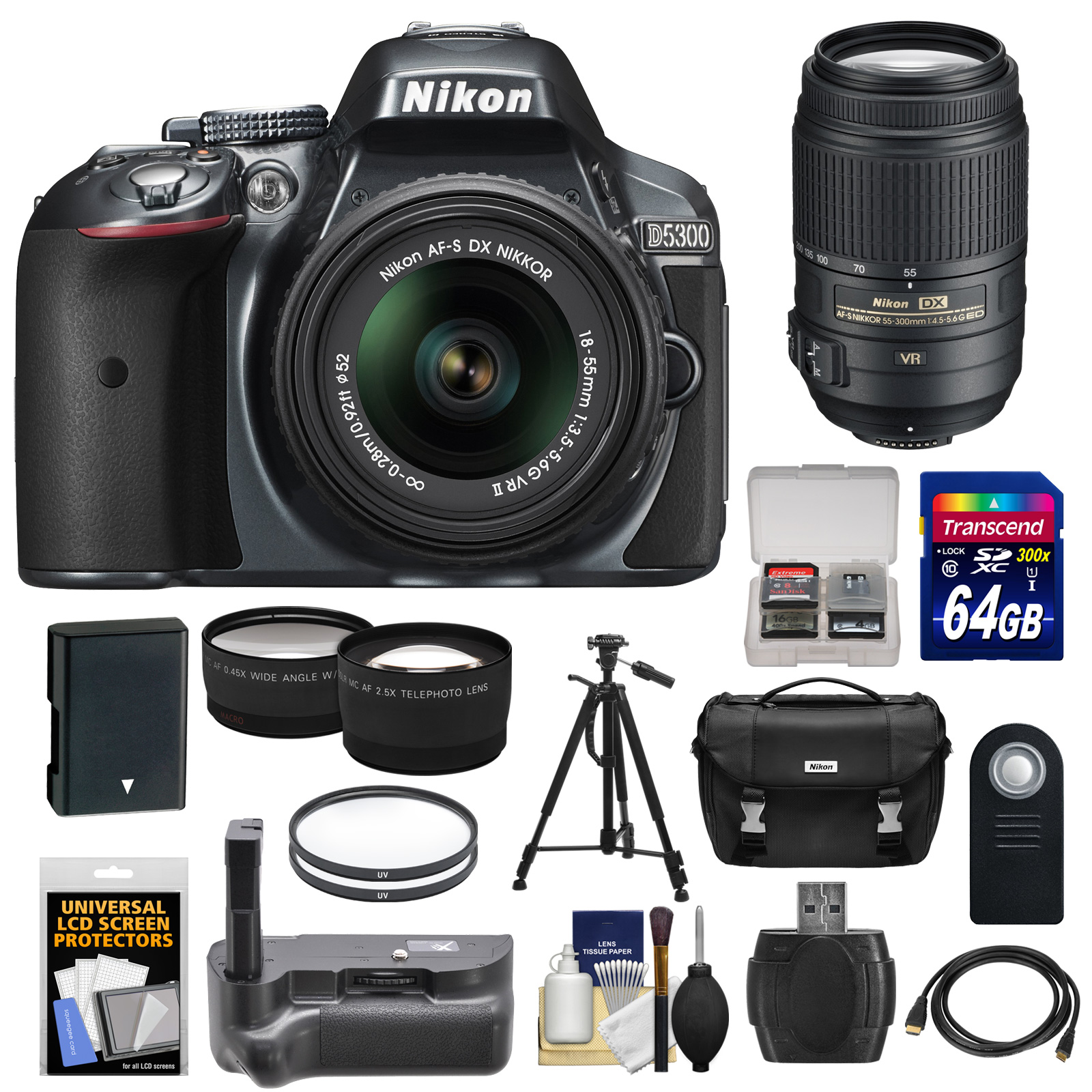 Nikon D5300 Digital SLR Camera & 18-55mm G VR DX II Lens (Grey) with 55-300mm VR Lens + 64GB Card + Battery + Case + Grip + Tele/Wide Lens Kit