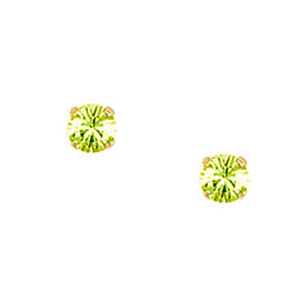 No Metal Stamp Gold Plated Base Green Synthetic Cubic Zirconia 4 Prong Round Piercing Earrings