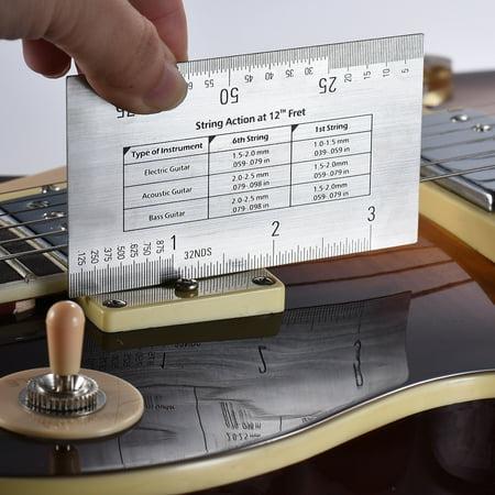 string action ruler gauge tool in mm for guitar bass mandolin banjo. Black Bedroom Furniture Sets. Home Design Ideas