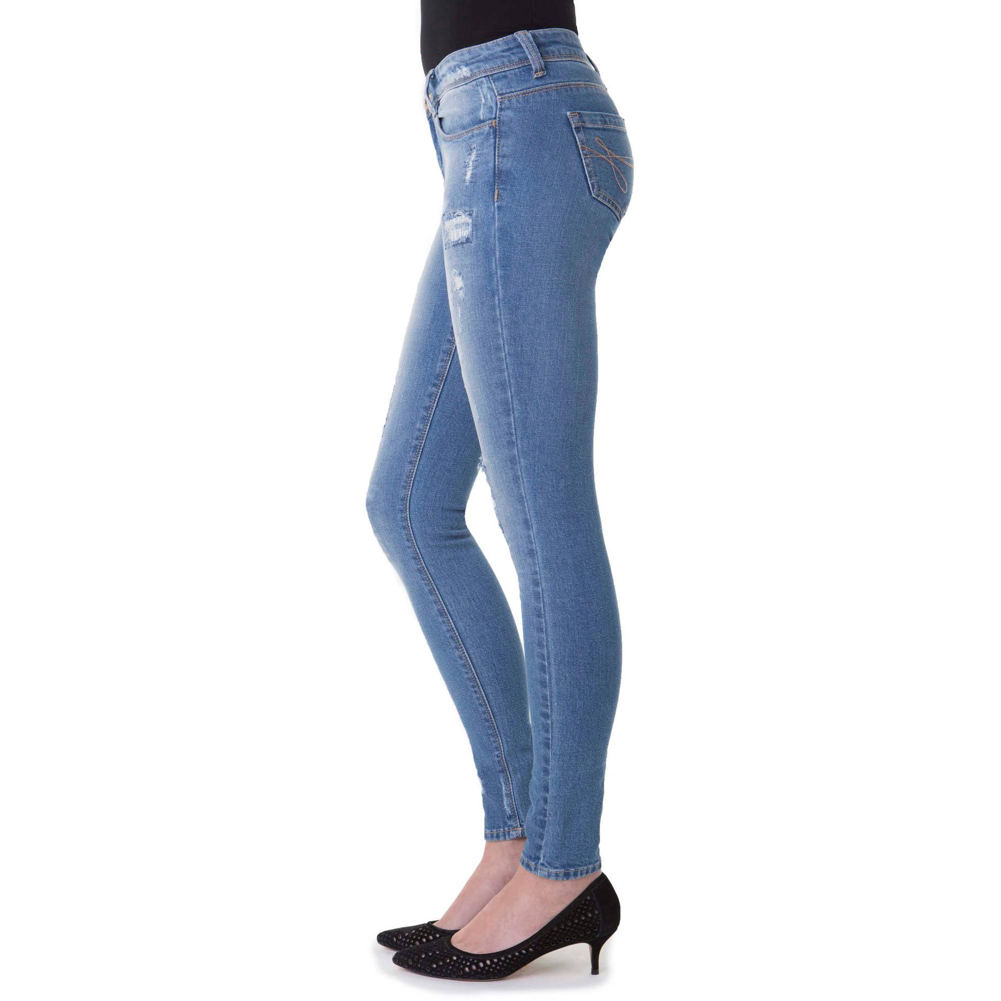 b56952398d6 J Jeans by Jordache - J Jeans By Jordache Distressed Skinny Je - Walmart.com