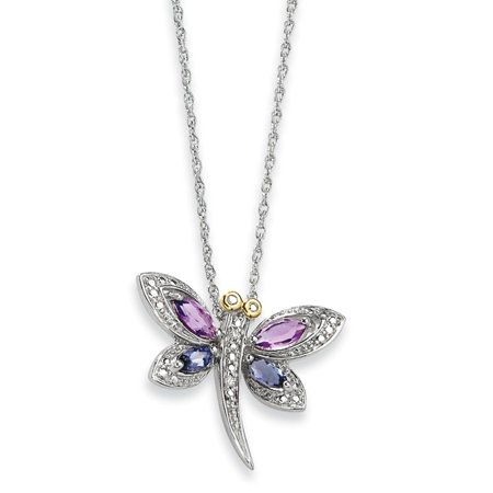 Sterling Silver and 14K Amethyst and Iolite and Diamond Dragonfly Necklace - 17 Inch - Jewelry