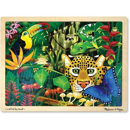 Melissa & Doug Rainforest Wooden Jigsaw Puzzle With Storage Tray (48 pcs)