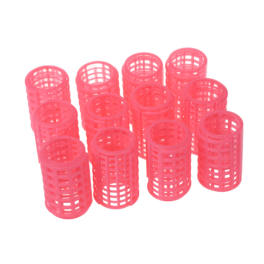 SODIAL 12 Pcs Pink Plastic Makeup DIY Hair Styling Roller Curlers Clips