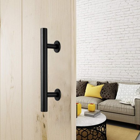 Door Handle Pull Set Barn 12inch Black Stainless Steel Pull And Flush Hardware AMZSE