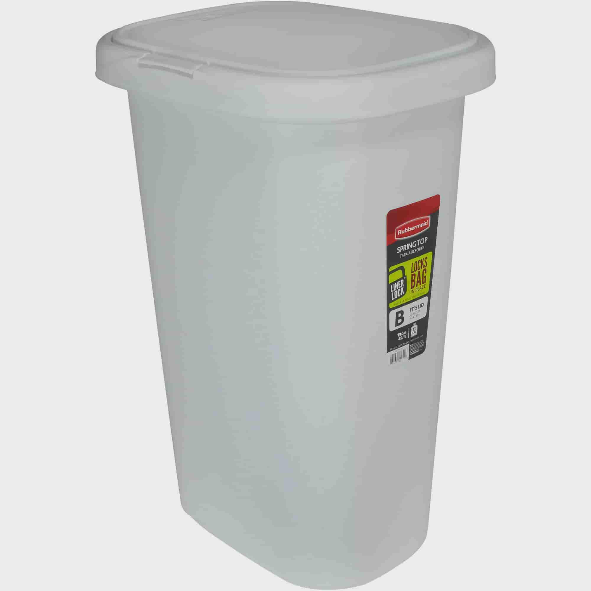 Rubbermaid LinerLock Spring Top Trash Can, 13 Gal, White