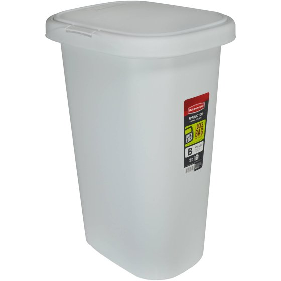 Rubbermaid Linerlock Spring Top Trash Can 13 Gal White