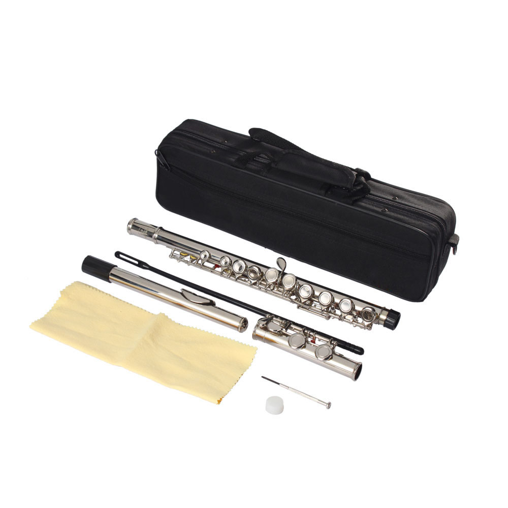 Ktaxon Nickel Plated Flute C Key Closed Hole Concert Band Flute Silver