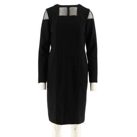 Lisa Rinna Collection Ponte Dress Sheer Neck A305066