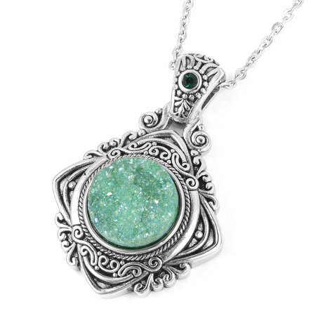 Round Green Drusy Quartz Crystal Black Oxidized Chain Pendant Necklace for Women 20