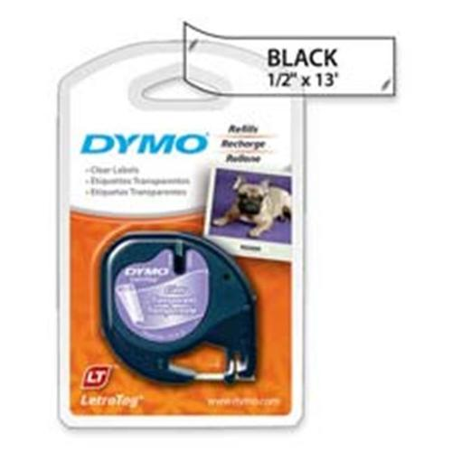 Dymo Corporation DYM16952 Letra Tag Labelmaker Tapes- . 50inchx13ft. - Black on Clear