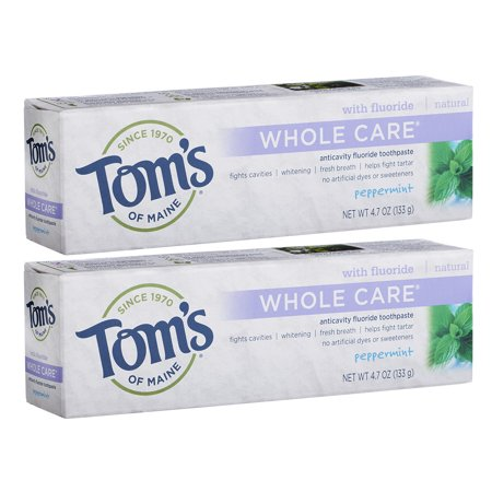 Tom's of Maine Whole Care Fluoride Toothpaste, Peppermint, 2 Count