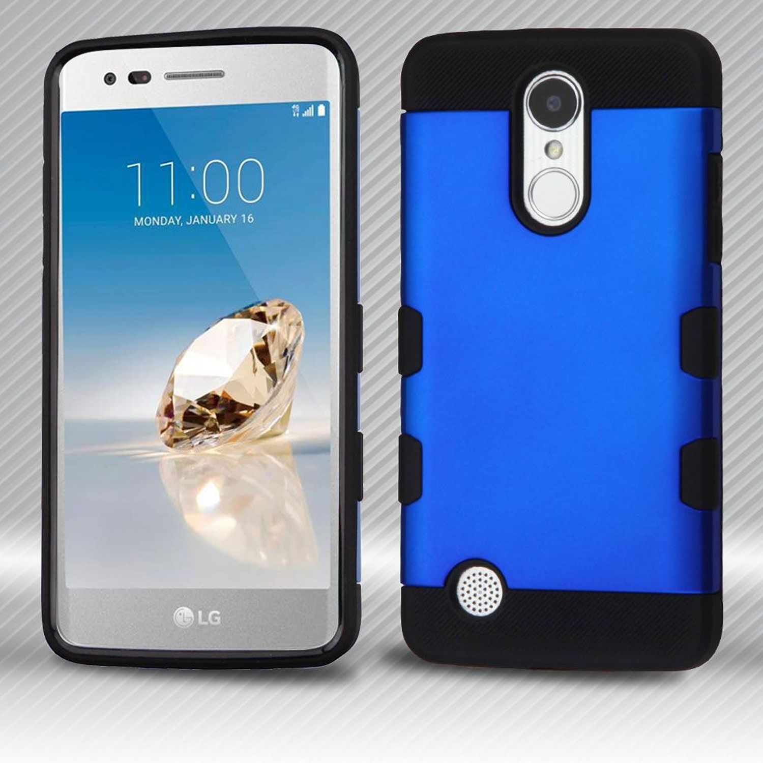 LG Phoenix 3 phone case LG Aristo case LG K8 2017 case by Insten Dual Layer [Shock Absorbing] Hybrid Hard Plastic/Soft TPU Rubber Case Cover For LG Aristo/Fortune/K8 (2017)/LV3/Phoenix 3, Blue/Black