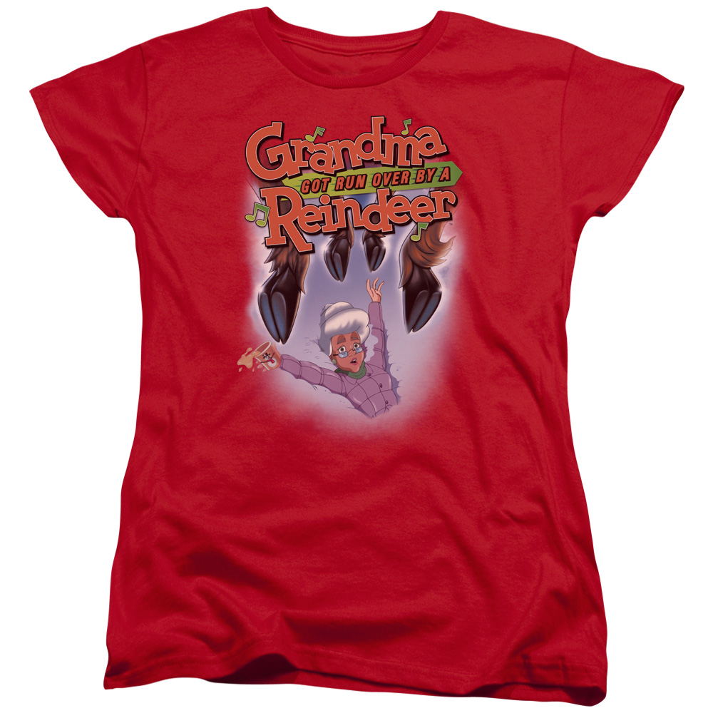 Grandma Got Run Over By A Reindeer Hooves Womens Short Sleeve Shirt