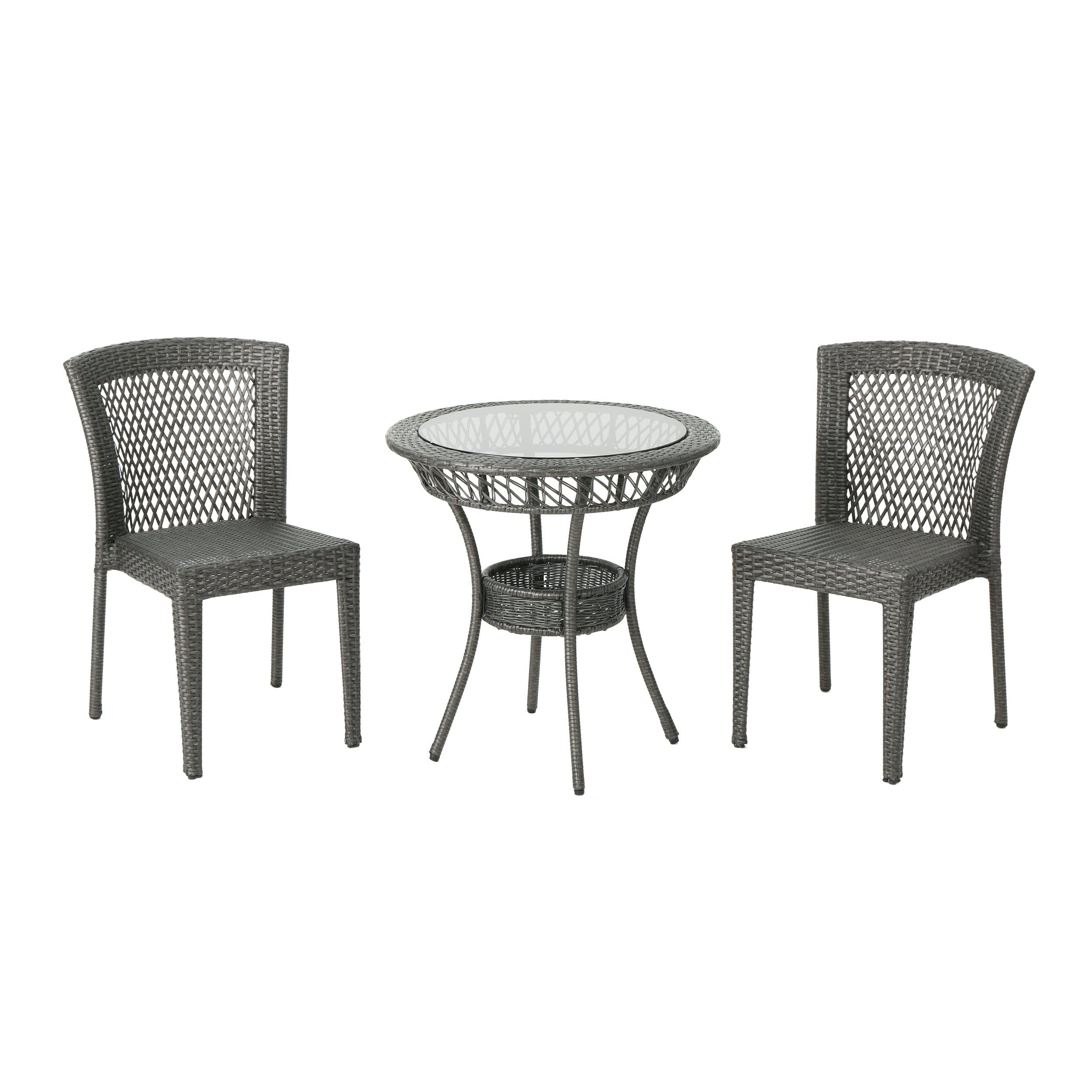 Christopher Knight Home Farley Outdoor Multi-brown 3-piece Wicker Bistro Set by