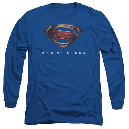 Man Of Steel/Mos New Logo   L/S Adult 18/1   Royal     Sm2071 - Halloween Royal Story
