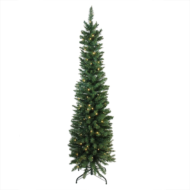 6 X 21 Pre Lit Led Northern Balsam Fir Pencil Artificial Christmas Tree Warm Clear Lights Walmart Com Walmart Com