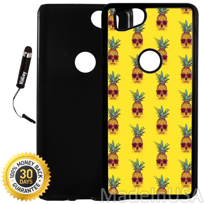 Custom Google Pixel 2 Case (Black Skull Pineapple) Plastic Black Cover Ultra Slim | Lightweight | Includes Stylus Pen by Innosub