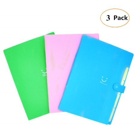 5 Pocket File Folders - Plastic Expanding File Folders - Accordion Document Organizer 5-Pocket A4 Letter Size with Snap Closure for School and Office - 3 Color - 3 Pack ()
