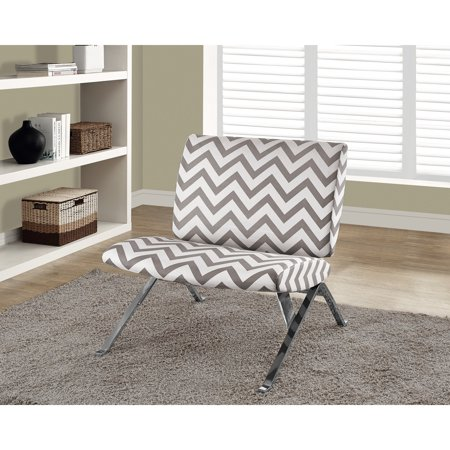 Monarch Specialties Dark Taupe Chevron Metal and Fabric Accent Chair