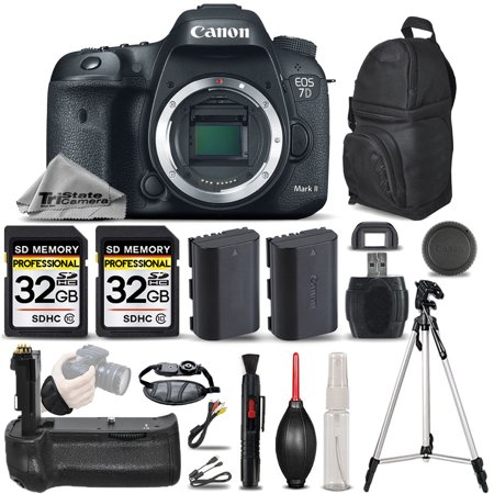 Canon EOS 7D Mark II DSLR Camera Body Only + Battery Grip + EXT BATT - 64GB
