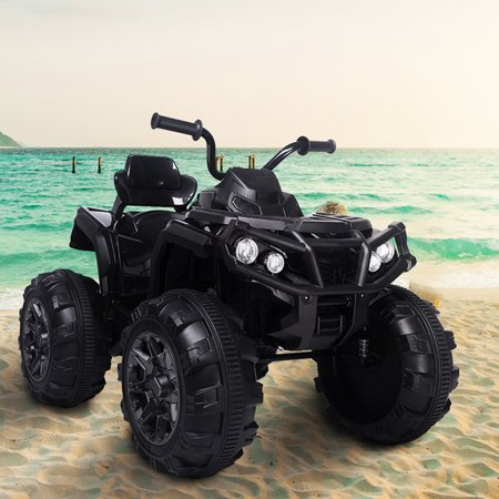 UBesGoo 12V 7Ah Battery Powered 4-Wheeler ATV Ride-On Car with a Realistic Foot Pedal Accelerator, LED Headlights, and Music And Horn Sound Perfect for Kids Black