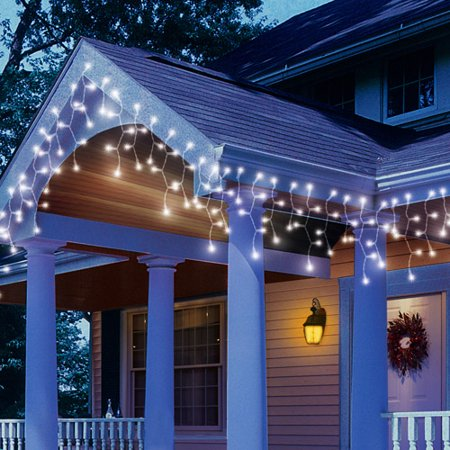 holiday time led white icicle string christmas lights 200 count