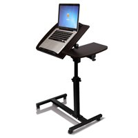 Iuhan Turnlift sit-stand Mobile Laptop Desk Cart with Side Table dark walnut