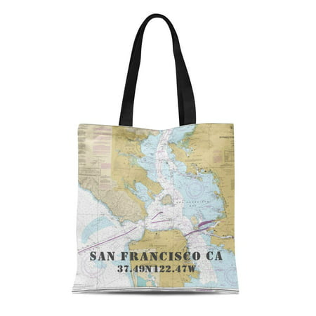 LADDKE Canvas Tote Bag Teal Boating Authentic Noaa Nautical Chart San Francisco Blue Reusable Handbag Shoulder Grocery Shopping Bags Authentic Purse Handbags