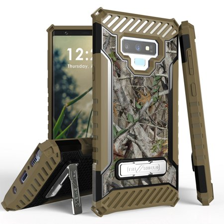 Beyond Cell TriShield Series Compatible with Samsung Galaxy Note 9, Military Grade Drop Tested Shockproof Armor Stand Case and Atom Cloth - Tree Camo