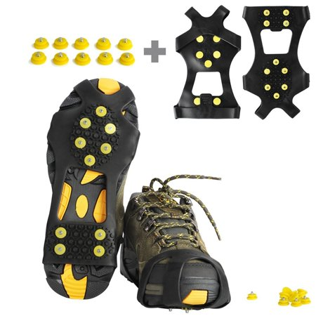 Ice Cleats, Willceal Ice Grips Traction Cleats Grippers Non-slip Over Shoe/Boot Rubber Spikes Crampons Anti Slip 10 Steel Studs Crampons Slip-on Stretch Footwear