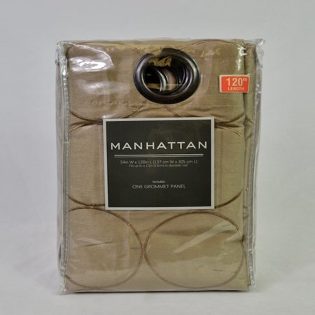 """Manhattan 120"""", 1 Grommet Top Embroidered Panel - Taupe - image 1 de 1"""