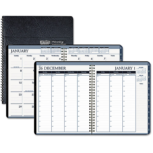 "House of Doolittle Wirebound Weekly/monthly Planner, 8-1/2"" X 11"", Black Leatherette, 2016"