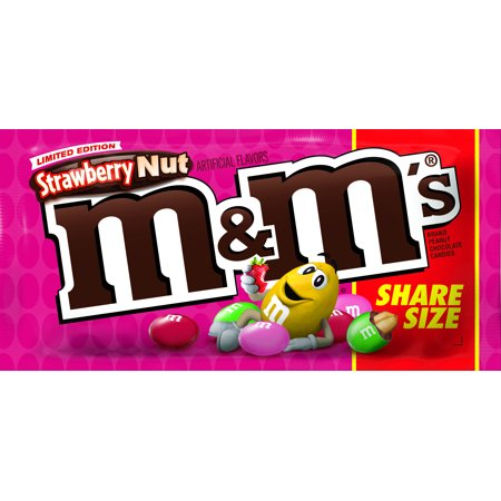 M&M'S Strawberry Nut Chocolate Candy Bag, 3.2 Ounce