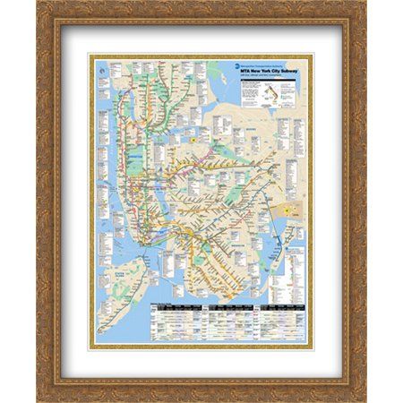 Framed New York Subway Map.New York Subway Map 2x Matted 28x40 Large Gold Ornate Framed Art Print
