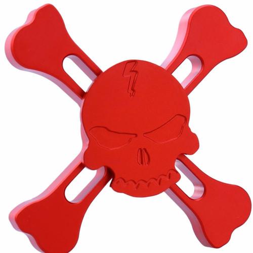 Cross Skull Alloy Fidget Spinner - Red