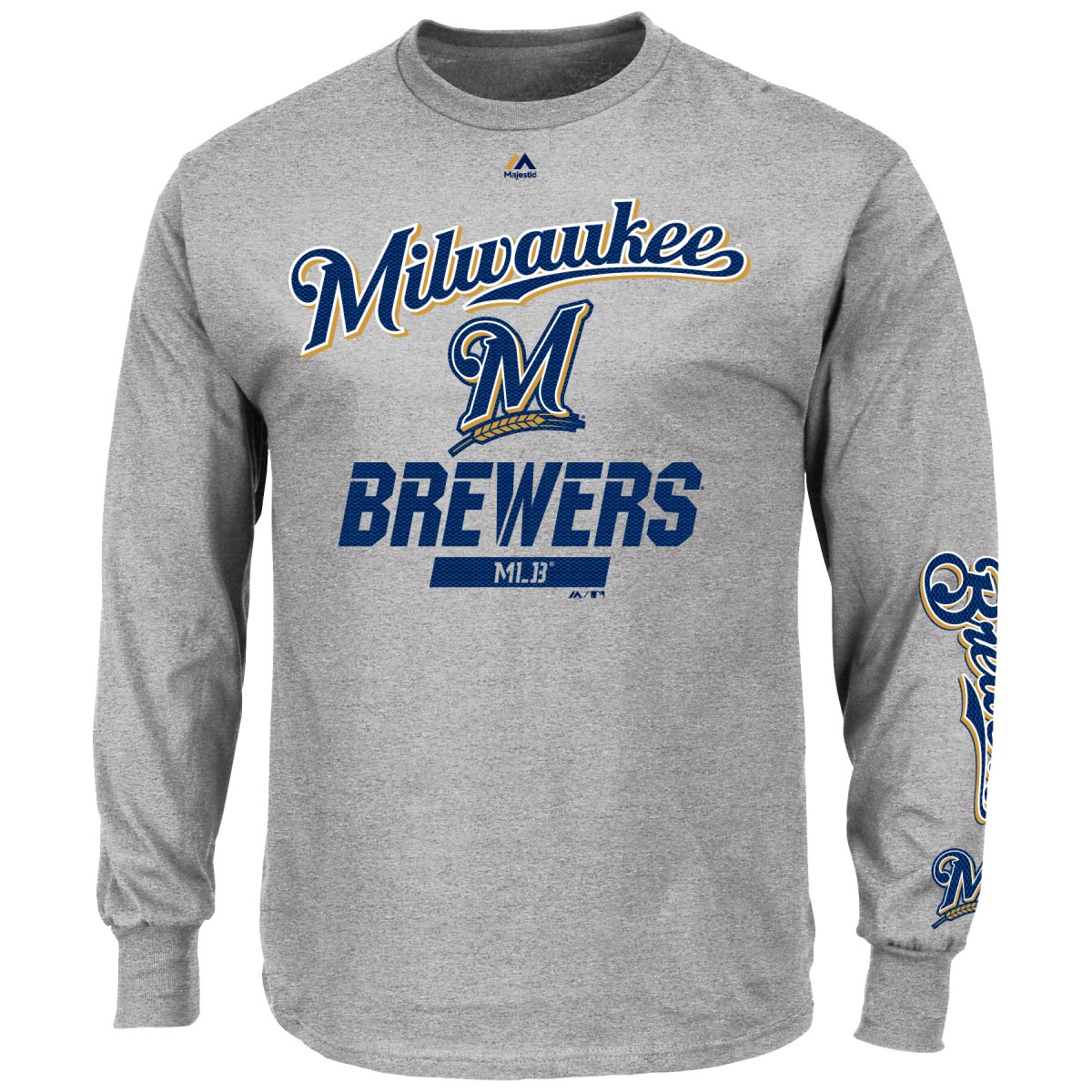 "Milwaukee Brewers Majestic MLB ""Flawless Victory"" Long Sleeve Gray T-Shirt"