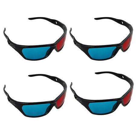 Insten 4 Pack Black Frame Red Blue 3D Glasses For Dimensional Anaglyph Movie Video Game DVD HDTV LCD LED TV Home Theater](Glasses Led)