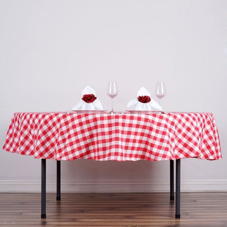 BalsaCircle 90 inch Round Gingham Checkered Polyester Tablecloth
