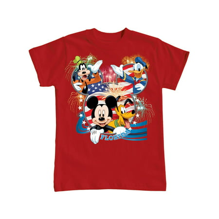 Disney Youth USA Flag Mickey Donald Goofy & Pluto (Fl Namedrop) X-Large Tee