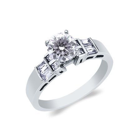 14K White Solid Gold 1 Ct. Round Cut Cubic Zirconia CZ Wedding Engagement Ring - size 6.5