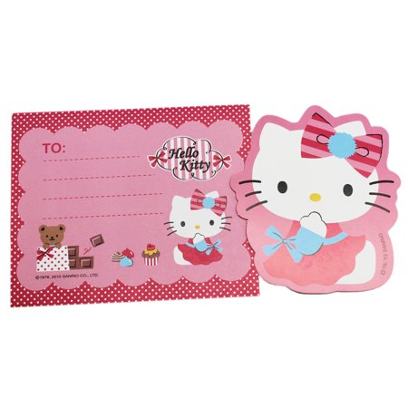 Hello Kitty Hand Over Mouth Letter Card and Pink Polka Dot Envelope