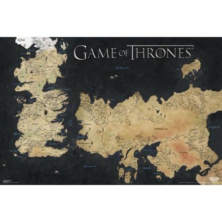 Game Of Thrones World Map Westeros Essos 7 Kingdoms Hbo Tv Show Poster 36X24 Inch