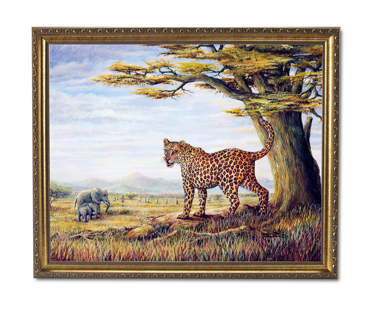 African Elephants Leopard Cat Animal Wildlife Wall Picture