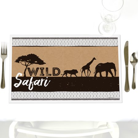 Wild Safari - Party Table Decorations - African Jungle Adventure Birthday Party or Baby Shower Placemats - Set of 12 - Safari Decorations