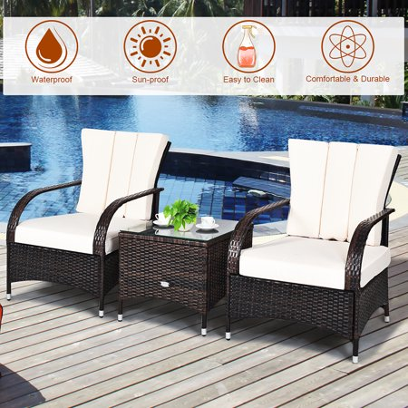 Costway 3PCS Rattan Furniture Set Chair Coffee Table Conversation Set W/White Cushion - image 8 of 10