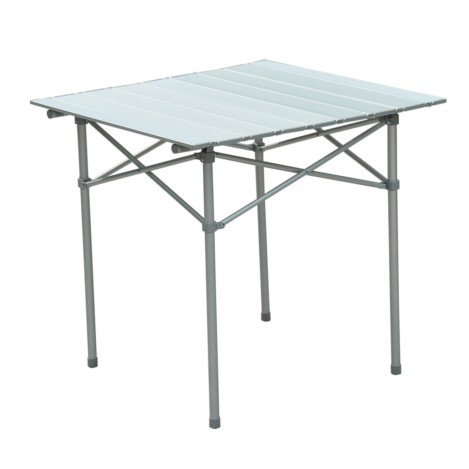 Outsunny Roll Up Top Aluminum Portable Camping Table W/ Carrying Bag    Silver