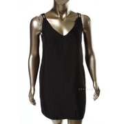 French Connection Black Sleeveless Crystal Crepe Dress