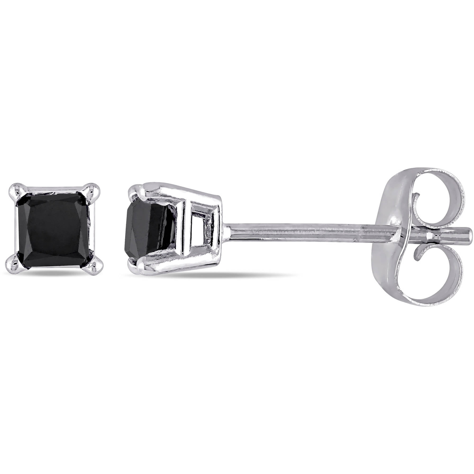 10kt White Gold 1 Carat Princess Cut Black Diamond Solitaire Stud